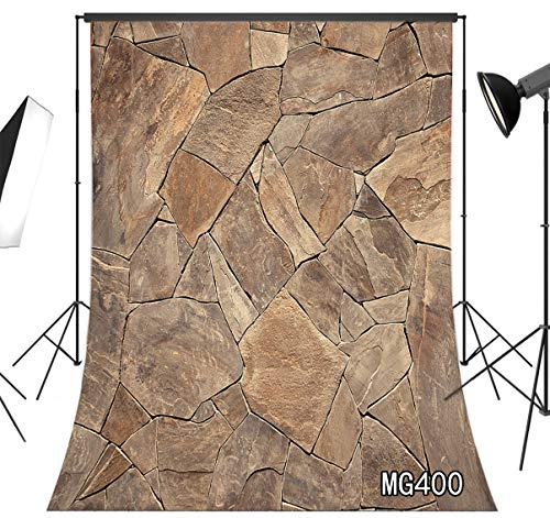 LB 6x9ft Marble Backdrop Brown Broken Brick Wall Backdrop Vintage Shabby Farmhouse Photography Background for Pictures Photo Shoot Studio Prop, Fabric Washable - Easy Stone Brown Fabric