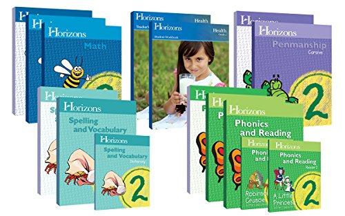 Horizons Homeschool Curriculum 2nd Grade 2, Complete Set (Set Includes: Math, Penmanship, Health, Spelling & Vocabulary, Phonics & Reading) (Grade Complete Set)