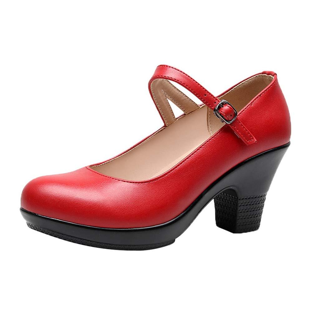 YAN Damenmode Schuhe Chunky Heels der Frühling- & Herbst-Dame One-Button Schnalle Cheongsam Catwalk Schuhe Mutter Schuhe Arbeitsschuhe