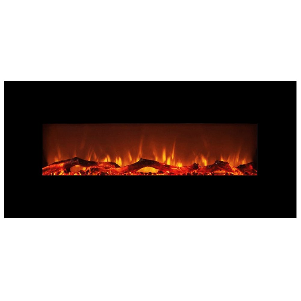 FLAME&SHADE Electric Fireplace, Wall Fireplace Heater, Freestanding or Wall Mount, with Remote, 10 LED Flame and Backlight Colors, Flat Panel, 48''