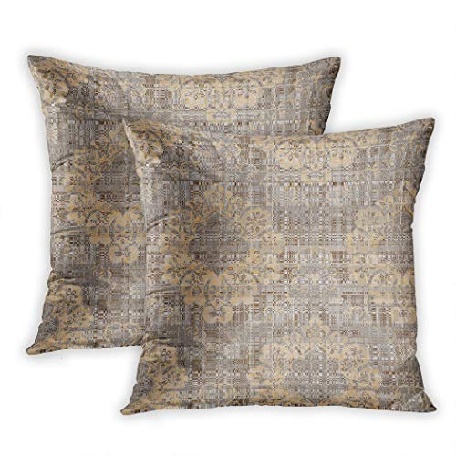 Lichtion Set of 2 Throw Pillow Covers Print Modern Check Damask Wallpaper Decorative Soft Bedroom Sofa Pillowcase Cushion Couch 20 x 20 Inch
