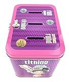 Girl's 3-Slot Tin Bank for Tithing, Savings