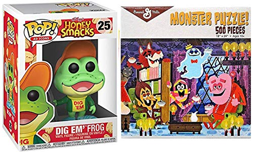 Dig Em' Cereal Pop Ad Icons Vinyl Figure Honey Bundled with Jigsaw Puzzle Breakfast Monsters Retro Crunch Fun / Frute Brute / Boo-Berry / Count Chocula / Yummy Mummy & Frankenberry Characters 2 Items