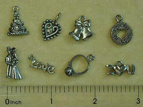 Heart Pewter Cake - Silver Wedding Ring Heart Bells Cake Love Pewter Bead Drop Charm Set