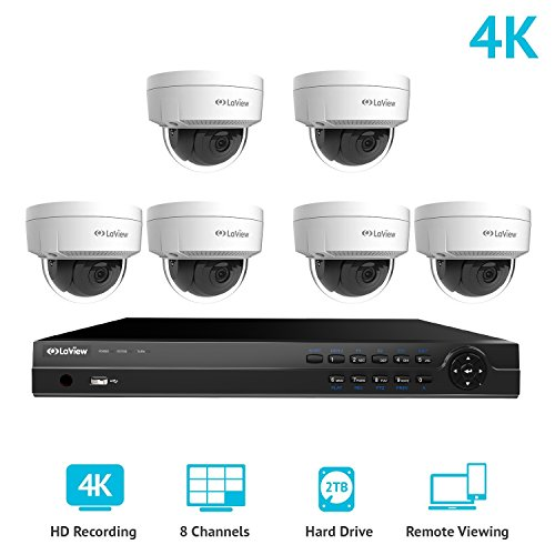 LaView 8 Channel Ultra HD 4K Home Security Camera System with 6 x 8MP IP Dome Cameras, 100ft Night Vision, Weatherproof Expandable Surveillance Camera System NVR 2TB HDD -