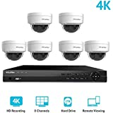 LaView 8 Channel Ultra HD 4K Home Security Camera System with 6 x 8MP IP Dome Cameras, 100ft Night Vision, Weatherproof Expandable Surveillance Camera System NVR 2TB HDD