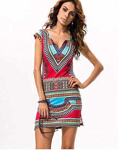 J&J Fashion traditional women's printed V-neck dress