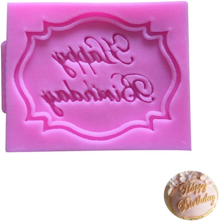 GFCGFGDRG 3D Feliz Cumplea/ños Cartas de Silicona del Molde del Chocolate del Molde de la Torta de cumplea/ños Que adorna la Herramienta para Hornear Gadget