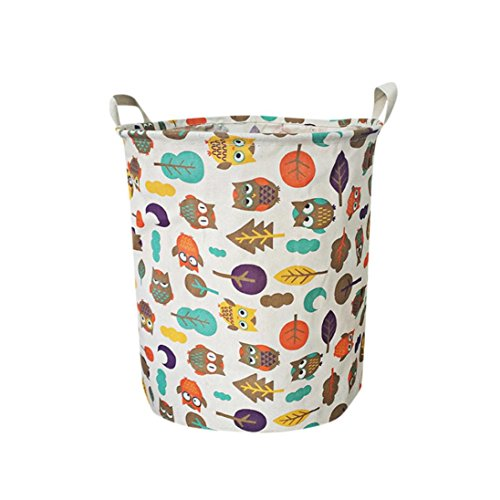Highpot Canvas Sheets Laundry Clothes Basket Waterproof Animal Folding Storage Box (G)