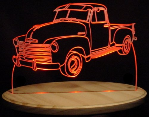 """Price comparison product image 1953 Chevy Pickup Truck 5 Window Acrylic Lighted Edge Lit 13"""" LED Sign / Light Up Plaque 53 VVD1 USA Original"""