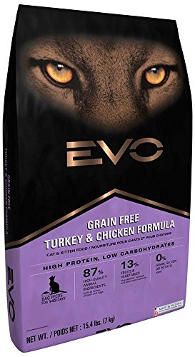 EVO Grain Free Turkey and Chicken Formula Cat and Kitten Food 15.4 Pounds by EVO