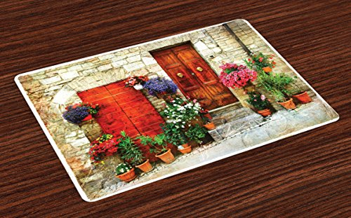 Lunarable Tuscan Place Mats Set of 4, Colorful Flowers Outside Home in Italian Hilltown Assisi Rustic Door Image, Washable Fabric Placemats for Dining Table, Standard Size, Orange - Placemats Home Decor