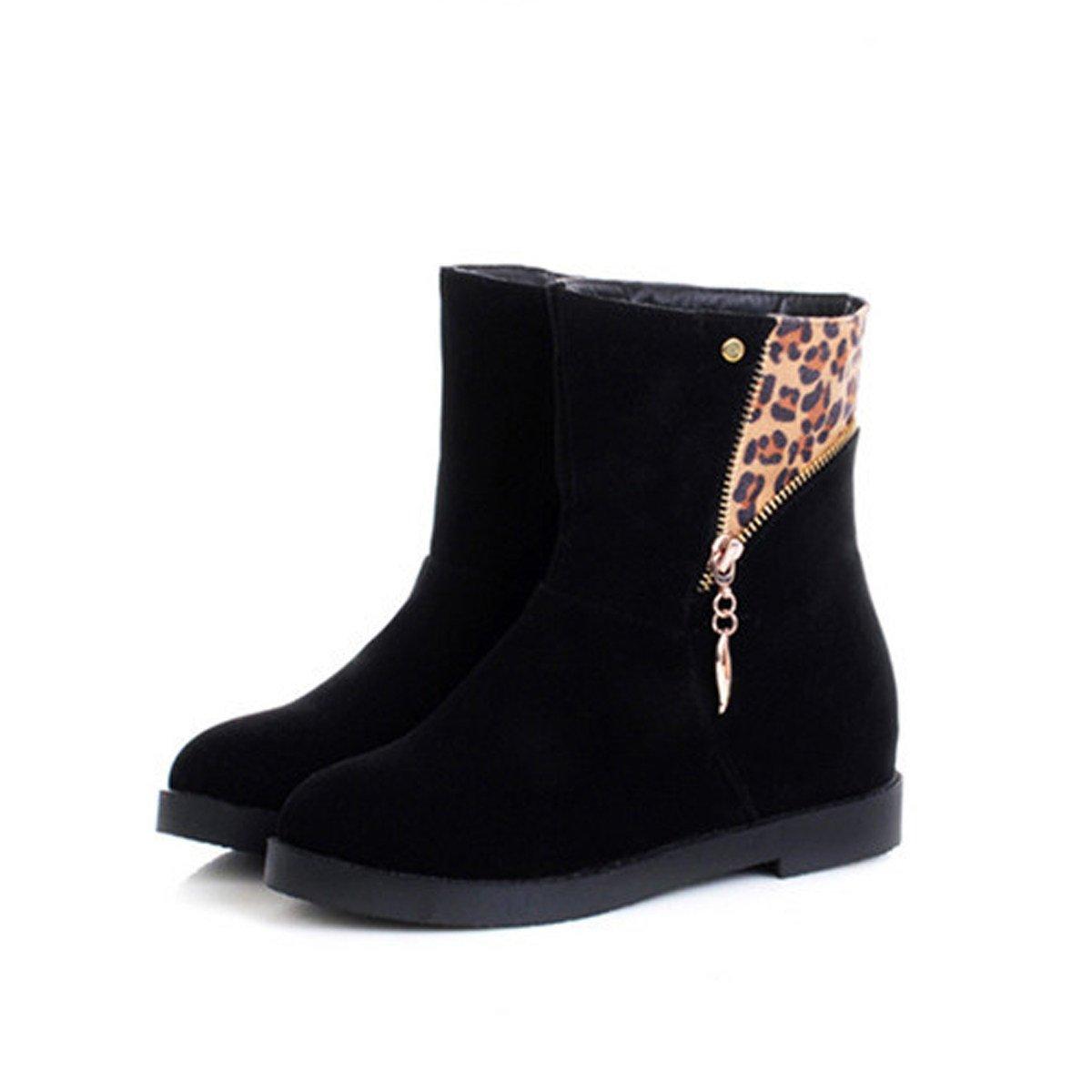 WJNKK En Femmes Dames Zipper Plate Bottines Chaussures En WJNKK Daim Faux Caoutchouc FunkyB076H4CGZCParent e0e296