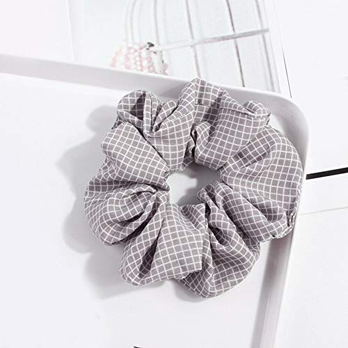 Elastic Scrunchie Ponytail Holder Hair Rope Ties Net Plaid Hair Ring Accessories (Color - grey)