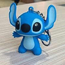 Little Cute Various Animals Keychain with Sound and Light LED Flashlight Keychains Keyrings Accessories, One Size Made of Plastic & Metal (Stitch Blue)