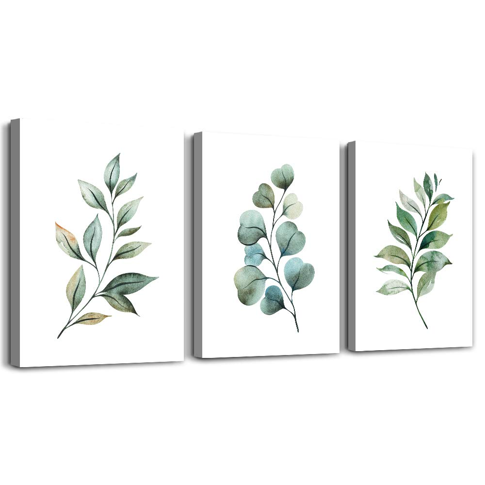 Green Leaf inspirational canvas Wall Art for Bedroom modern Canvas Prints Artwork Bathroom Wall Décor for Living Room Office Abstract Watercolor paintings 3 Piece Home Decoration kitchen wall painting