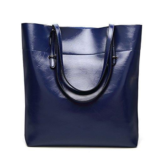 YAN Bolsa de hombro Tote 2018 Nuevo bolso de cuero genuino de la vendimia Gran capacidad grande para el trabajo, viajar, vacaciones, senderismo, caminar todas las estaciones (Color : 1) 5