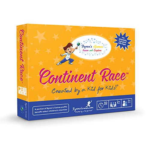 Educational Board Games for Families and Kids - A Fun, Interactive Geography Card Game for The Whole Family - Learn as You Race Around The World - Continent Race from Byrons Games - 7 and Up