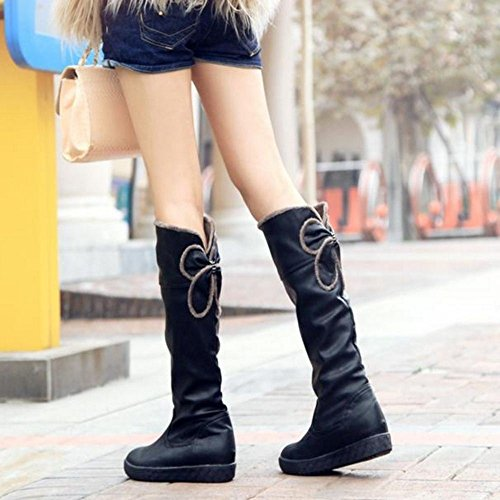Pull Boots KemeKiss High Casual Knee Women Black On Slouch PvXFTnYqxX