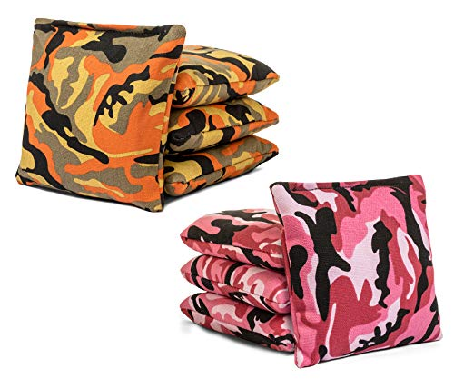 Tailgating Pros Cornhole Bags - 8 Regulation Size Corn Hole Bags - 23+ Colors Options (Pink Camo/Orange Camo)