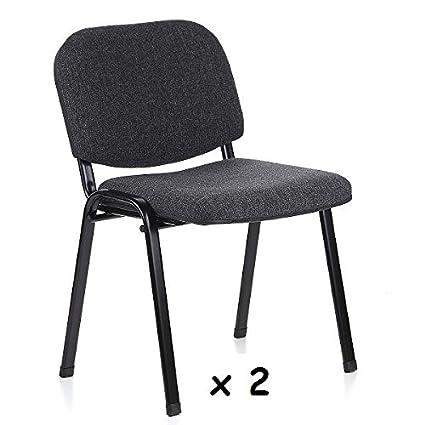 2x - Silla confidente para oficina - Silla tapizada color GRIS ...