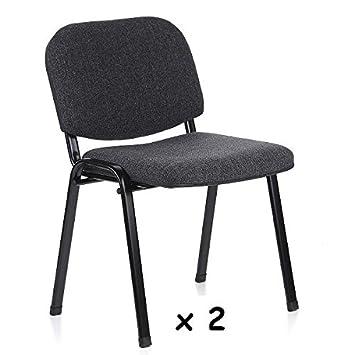 2x - Silla confidente para oficina - Silla tapizada color GRIS, ideal para oficinas, academias, autoescuelas. Permite apilar en tandas de 5 o 6 ...