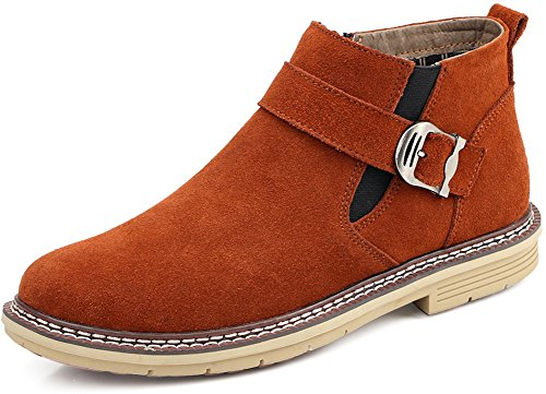 JiYe Casual Chelsea Ankle Boots Zipper Men Suede Leather,Grey,Brown,7.5US-Men by JiYe