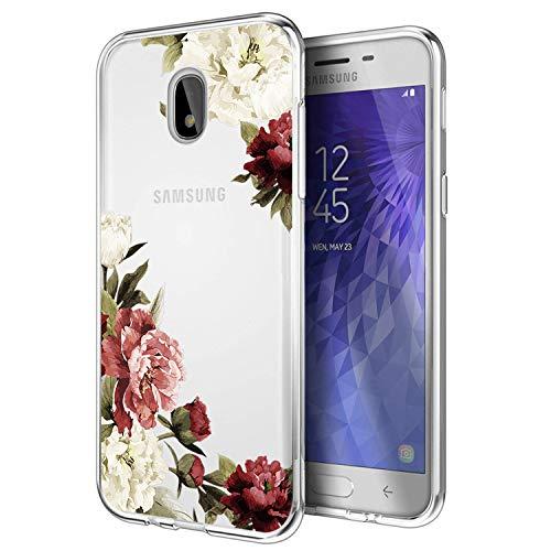Galaxy J7 Refine Case/J7 2018 Case/J7 Star Case/J7 V 2nd Gen Case/J7 Aero Case, Ueokeird Slim Shockproof Clear Floral Pattern Soft Flexible TPU Back Phone Cove for Samsung J7 2018 (Blossom Flower)