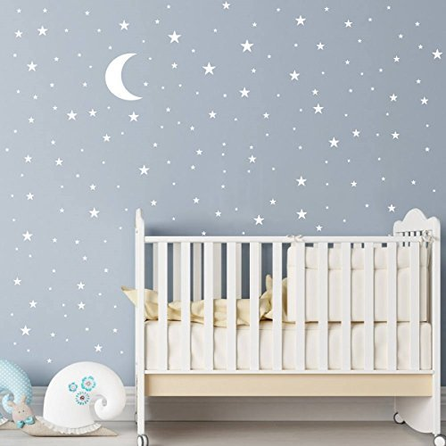 JOYRESIDE Moon and Stars Wall Decal Vinyl Sticker for Kids Boy Girls Baby Room Decoration Good Night Nursery Wall Decor Home House Bedroom Design YMX16 ()