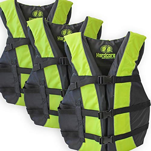 Hardcore Water Sports 3 Pack Coast Guard Approved Life Jackets for Adults and Youth Over 90 Lbs