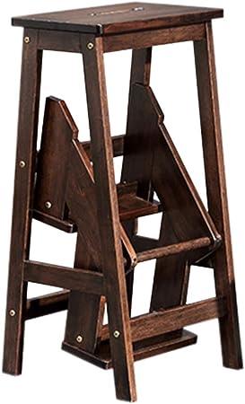 reposapiés plegable paso plegable retráctil Taburete plegable, Escalera de 3 pasos de madera de caucho, antideslizante, multifunción, biblioteca, dormitorio, sala de estar, fácil de almacenar, Tabur: Amazon.es: Hogar