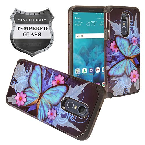 - Z-GEN - LG Stylo 4 (2018), Stylo4+ Plus, LM-Q710, LM-L713DL - Hybrid Image Phone Case + Tempered Glass Screen Protector - AD1 Butterfly