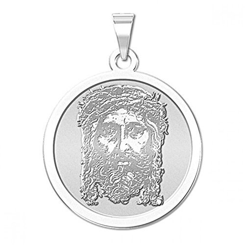 (Holy Face of Jesus Round Religious Medal - 2/3 Inch Size of Dime, Sterling Silver)