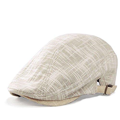 J2R Men's Hemp Linen Cotton Blended Cool Ivy Newsboy Cap Big Size Summer Caps 7 1/2(23 1/2