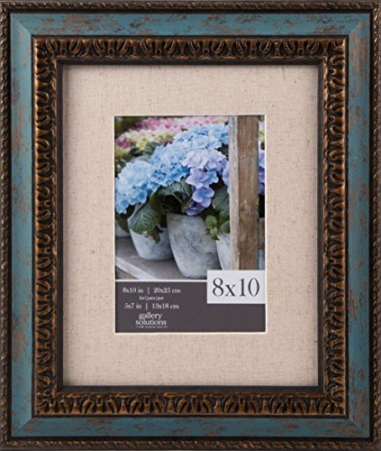 GALLERY SOLUTIONS 8x10 Distressed Turquoise & Antique Gold Accent Wall Frame with Linen Mat For 5x7 Image
