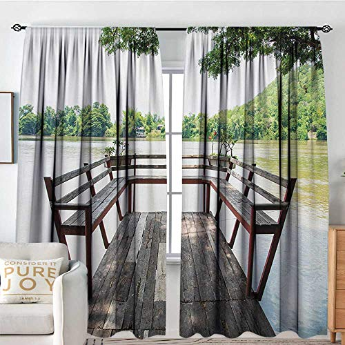 NUOMANAN Window Curtains Travel,Wooden Seem Terrace on The Riverside Romantic Calming in Woods Image Print,Dark Brown and Green,Fashionable Illustration Customized Curtain 72