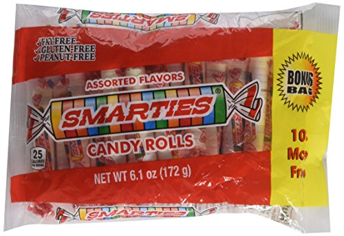 Smarties Candy Rolls 6.1 oz Bag (2 bags 12.2 oz total) bonus bag 10%more free (Smarties Rolls Candy)
