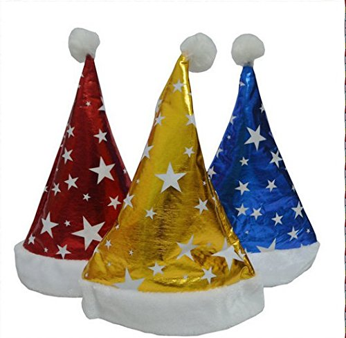 [Merry Christmas Hat , Xmas Fashion Cosplay Party Santa Claus Soft Warm Five - pointed Stars Pattern Velvet] (Turban And Beard Costume)