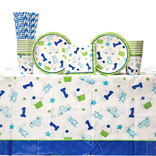 Doodle 1st Birthday Boy Party Supplies Pack for 16 Guests: Straws, Dessert Plates, Beverage Napkins, Table Cover, and Cups
