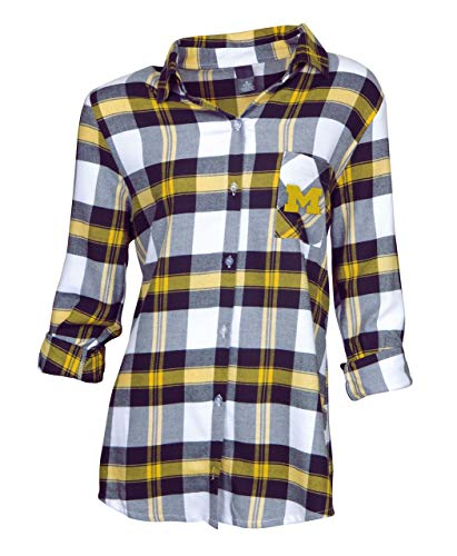 Concept Sport Michigan Wolverines Womens Long Sleeve Team Pride Flannel Button Up - Navy, Womens Small from Concept Sport