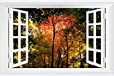 SHOBRILF Autumn Trees - Nature - #11792 - Art Print 3D Fake Windows Wall Stickers Removable Poster Wall Decor for Livingroom Bedroom 36x24 inches