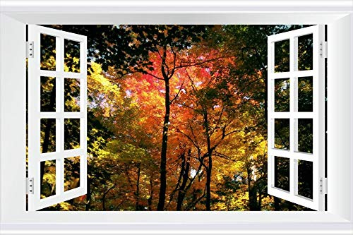 SHOBRILF Autumn Trees - Nature - #11792 - Art Print 3D Fake Windows Wall Stickers Removable Poster Wall Decor for Livingroom Bedroom 36x24 inches by SHOBRILF