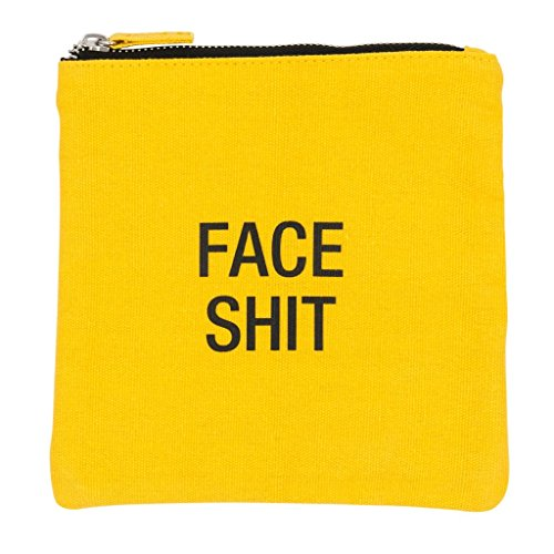 About Face Designs Face Shit Cosmetic Bag, Yellow