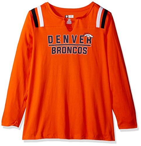 (NFL Denver Broncos Women L/S NOTCH NECK TEE, ORANGE, 4X)