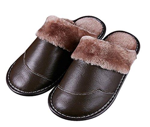 Cattior Heren Winterbont Gevoerd Warm Indoor Outdor Zachte Pantoffels Lederen Slippers Bruin
