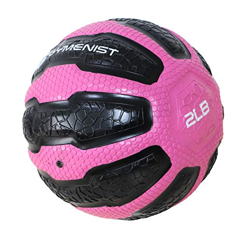 GYMENIST Rubber Medicine Ball with Textured Grip, Available in 9 Sizes, 2-20 LB, Weighted Fitness Balls,Improves Balance and Flexibility - Great for Gym, Exercise, Workouts (2 LB (Pink-Black))