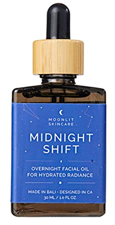 Midnight Shift Overnight Facial Oil by MOONLIT SKINCARE A Nighttime Face Moisturizer and Natural Sleep Aid Nighttime Hydrating Facial Oil 1 fl. oz.