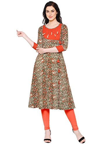 Yash Gallery Indian Tunic Tops Women's Cotton Kalamkari Print Anarkali Kurta (Peach, ()