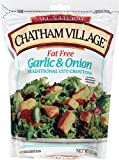 Chatham Village Fat Free Garlic & Onion Croutons, 5-Ounce Bags (Pack of 12)