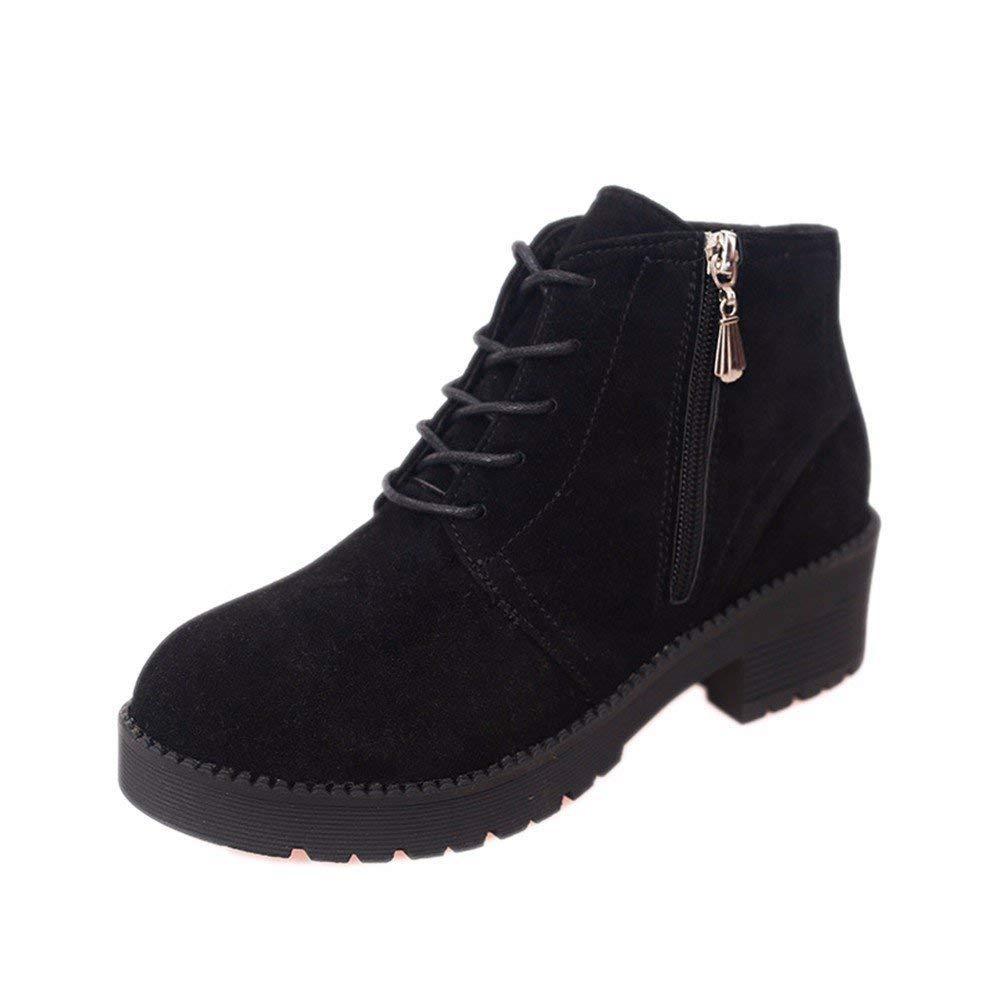 SED Retro Party Boots Stivaletti stringati con cerniera laterale e scarpe,36 Eu,Nero 36 Eu